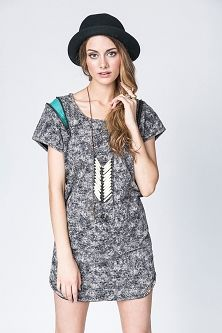 #numph Josephine grey dress with zipper detail. Accessorized with Indigo Echo necklace available in Indie Marketplace!