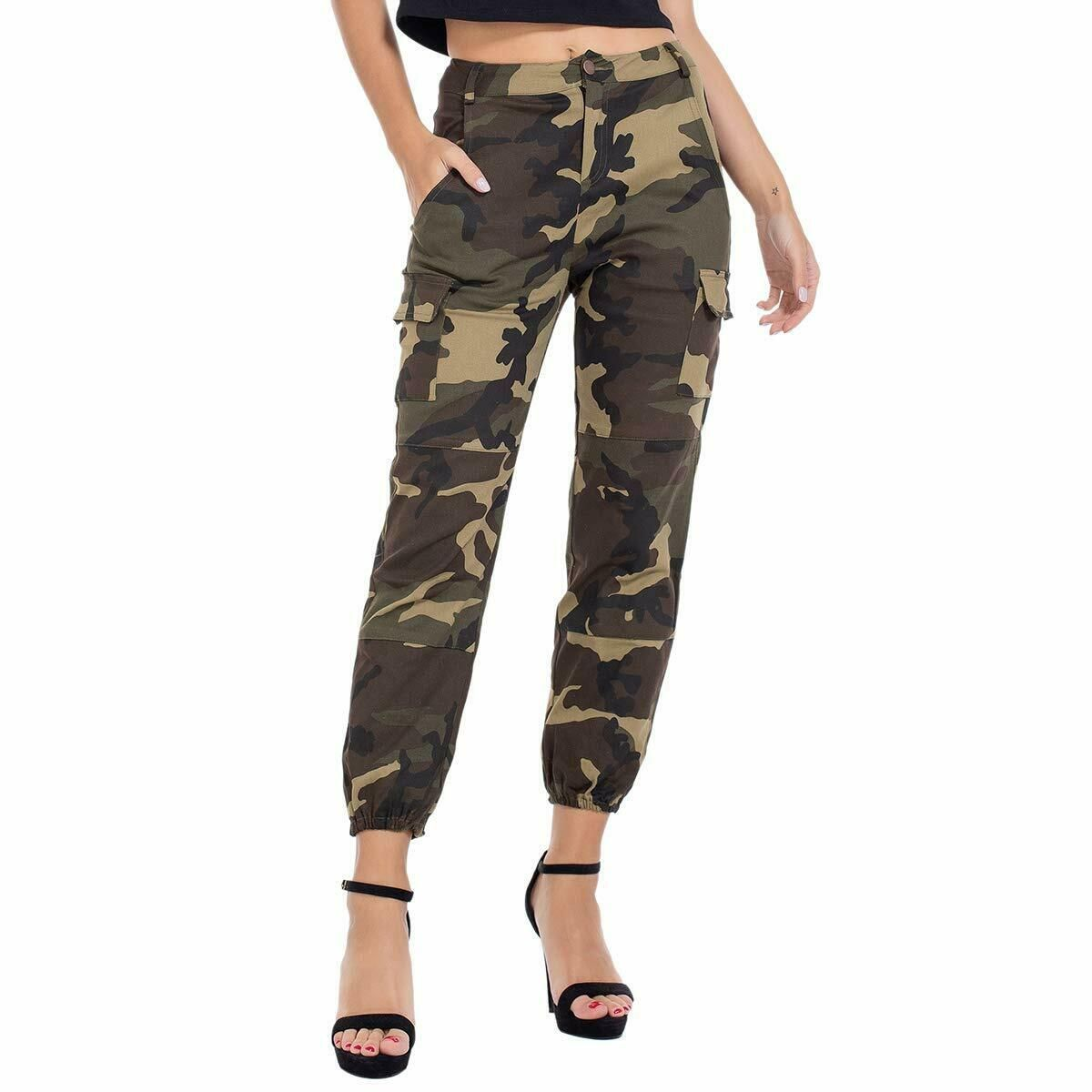 Women Camouflage Pants High Waist Stretch Leggings Sports Pencil Trousers Casual