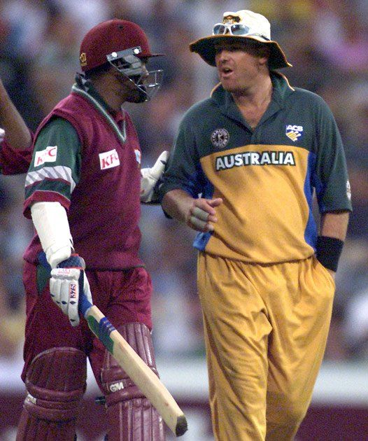 17 Jan 2001: Brian Lara of the West Indies (left) chats with Shane Warne of Australia during the Carlton Series One Day International between Australia and West Indies at the Sydney Cricket Ground, Sydney, Australia.