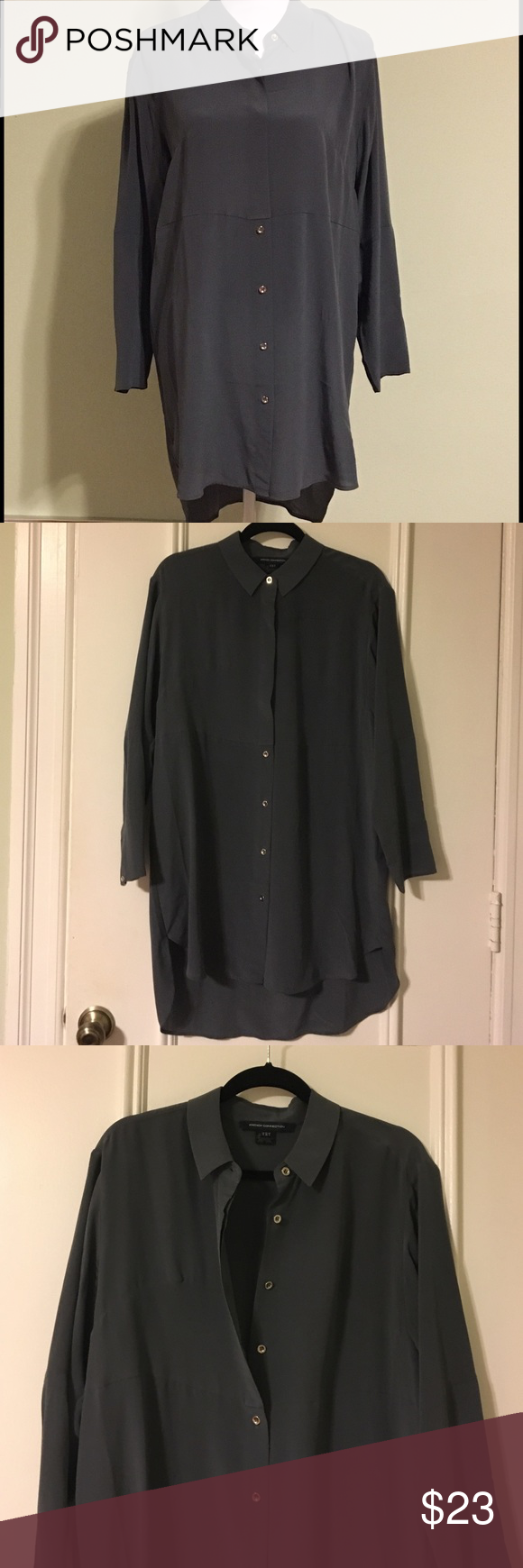 """French connection oversized button down blouse This beautiful button down oversized long blouse is by French connection. 100% silk. Cold wash only. Could be used as light jacket or dress. 21"""" pit to pit, 42"""" shoulder to hem (front), 36"""" from shoulder to hem (back). Worn once. Few spot stains (picture #4) front bottom area but hard to notify. French Connection Tops Blouses"""