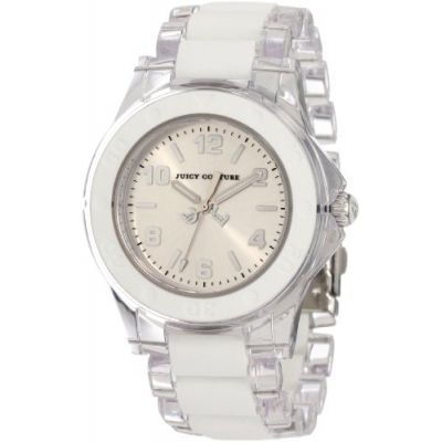 Juicy Couture Women's 1900866 Rich Girl Clear Plastic Bracelet With White Silicone Inlay Watch