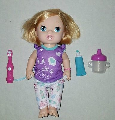 Baby Alive My Baby Brushy Blonde Doll Wets Diaper Bottle Drinks Toothbrush Baby Alive New Baby Products Baby Alive Dolls