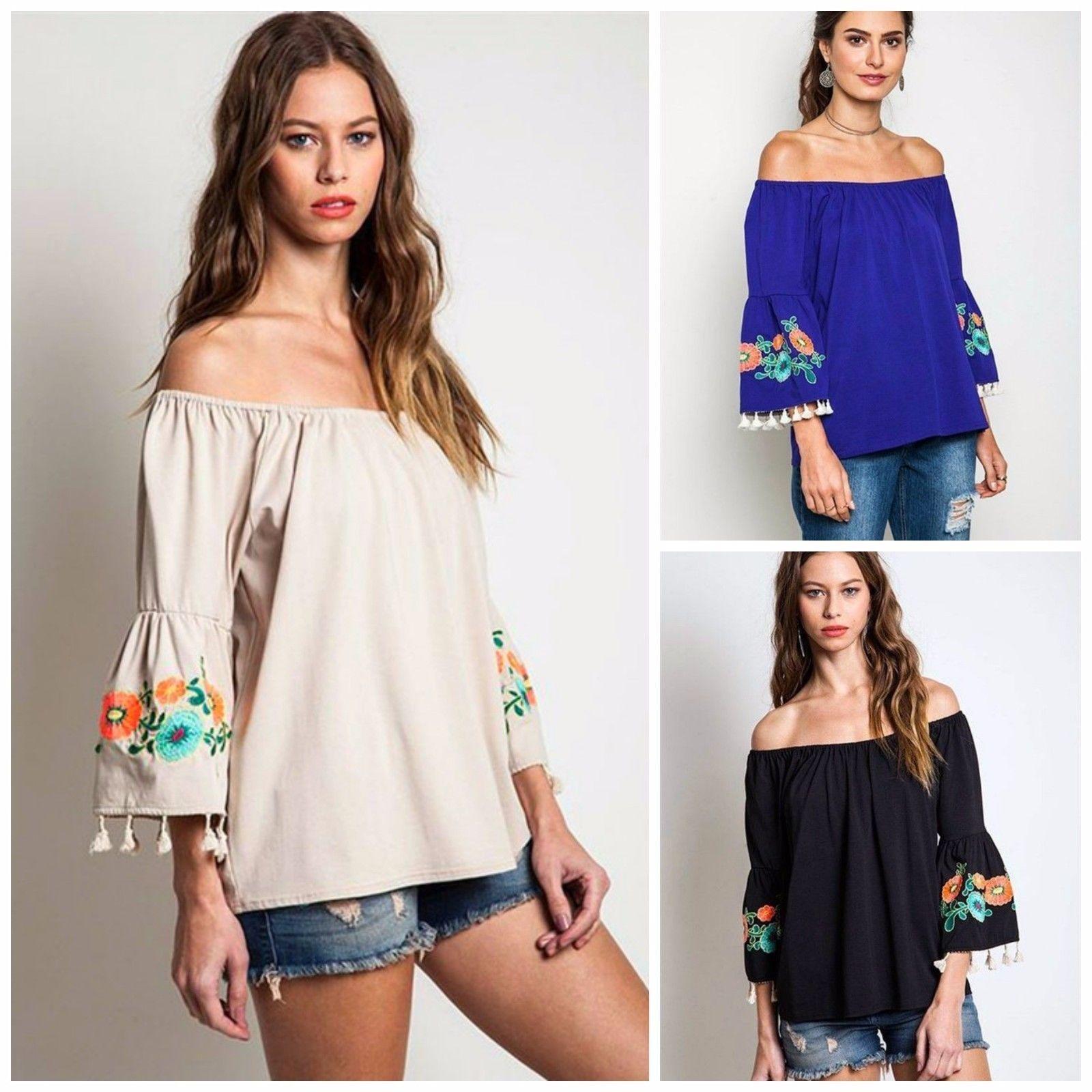 c83be455ae1 Umgee USA Belize Bell Sleeve Embroidered Boho Fringe Off Shoulder Knit Top  s M L #Umgee #Boho| eBay