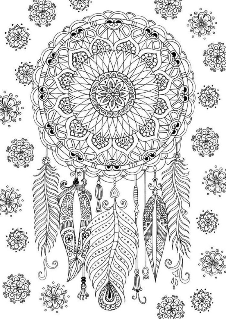 Dreamcatcher Mandala Coloring Pages For Grown Ups Printable