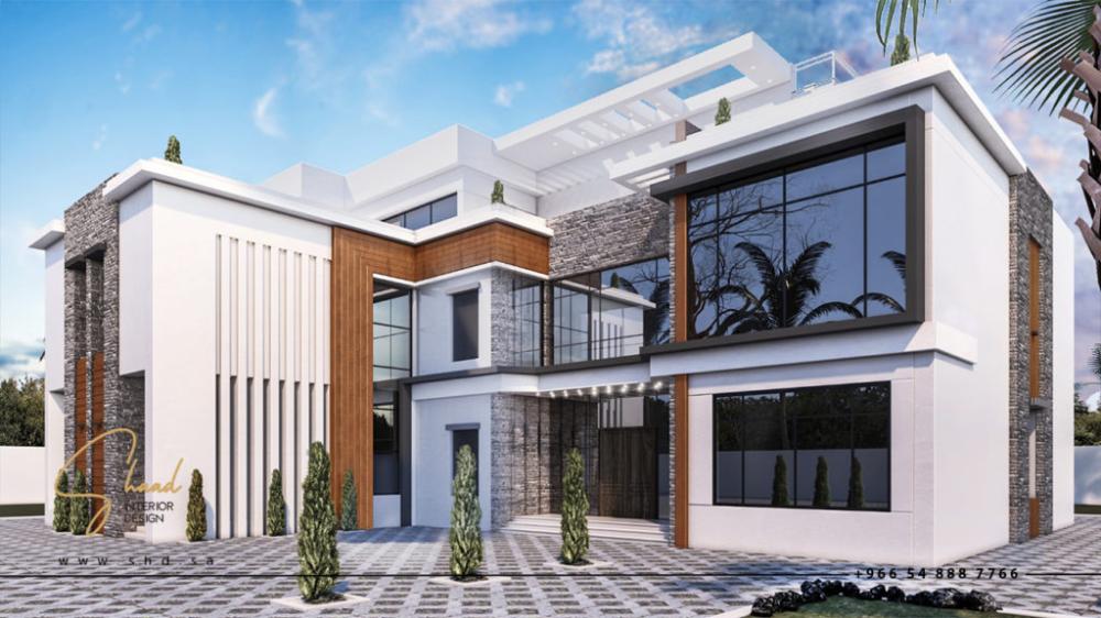 التصميم الخارجي للفلل شاد للتصميم الداخلي والديكور House Styles Exterior Design House Designs Exterior