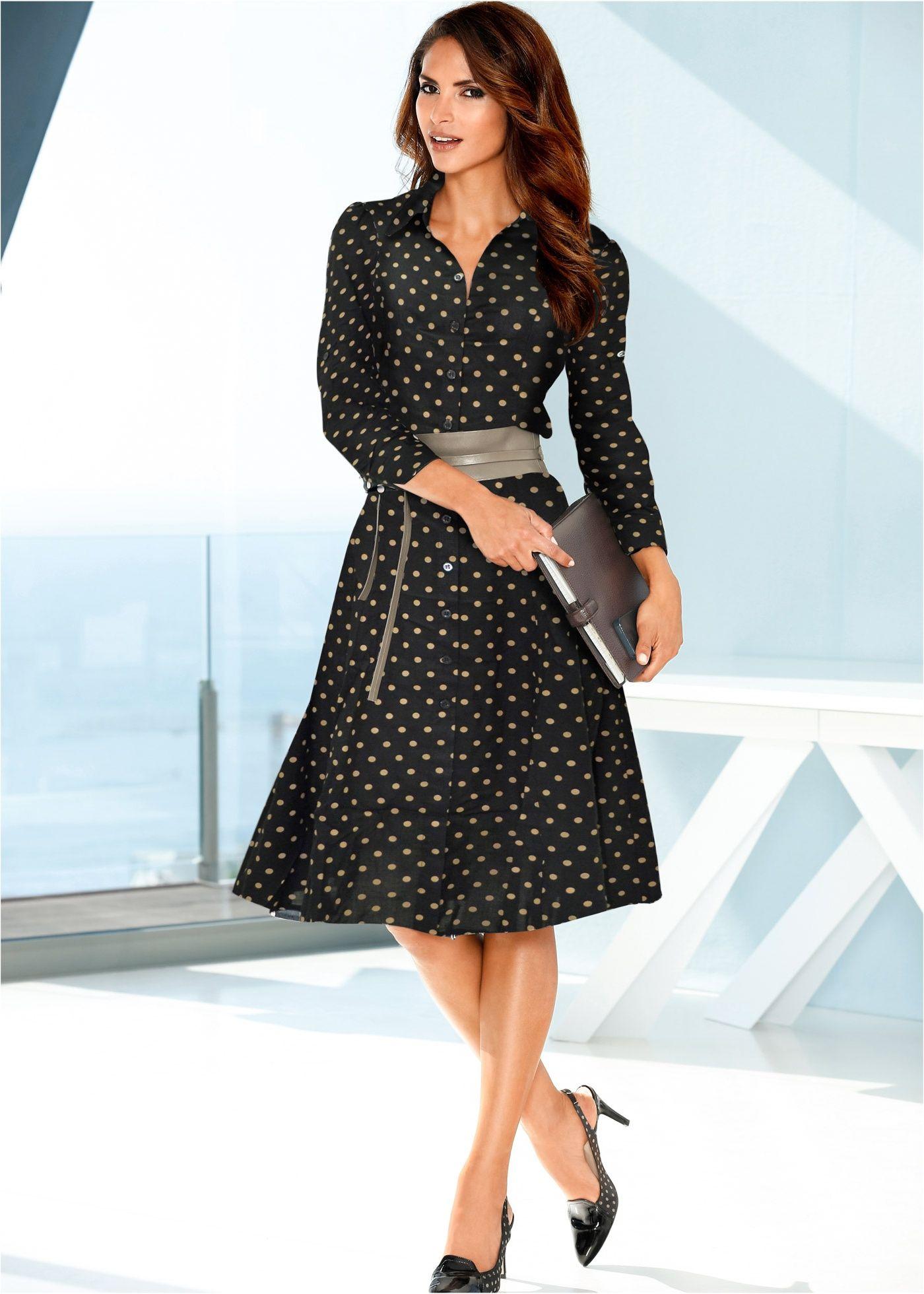 e623c6f27 Vestido chemise estampado preto bege bolinhas encomendar agora na loja  on-line bonprix.com.br R  169