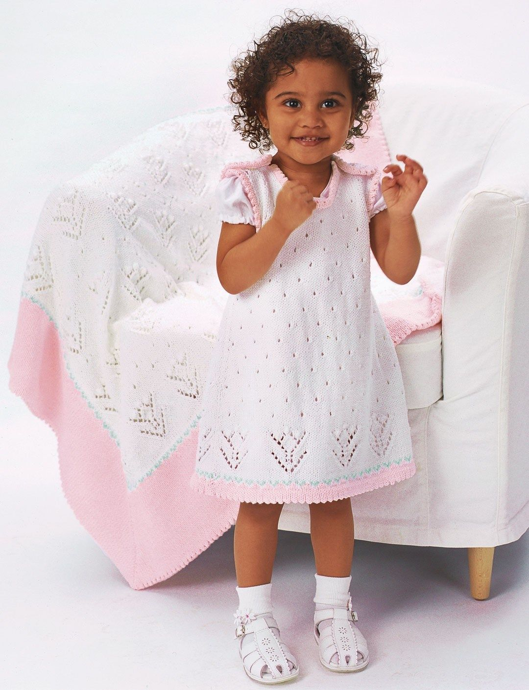 Free knitting pattern for baby and child dress with matching blanket ...