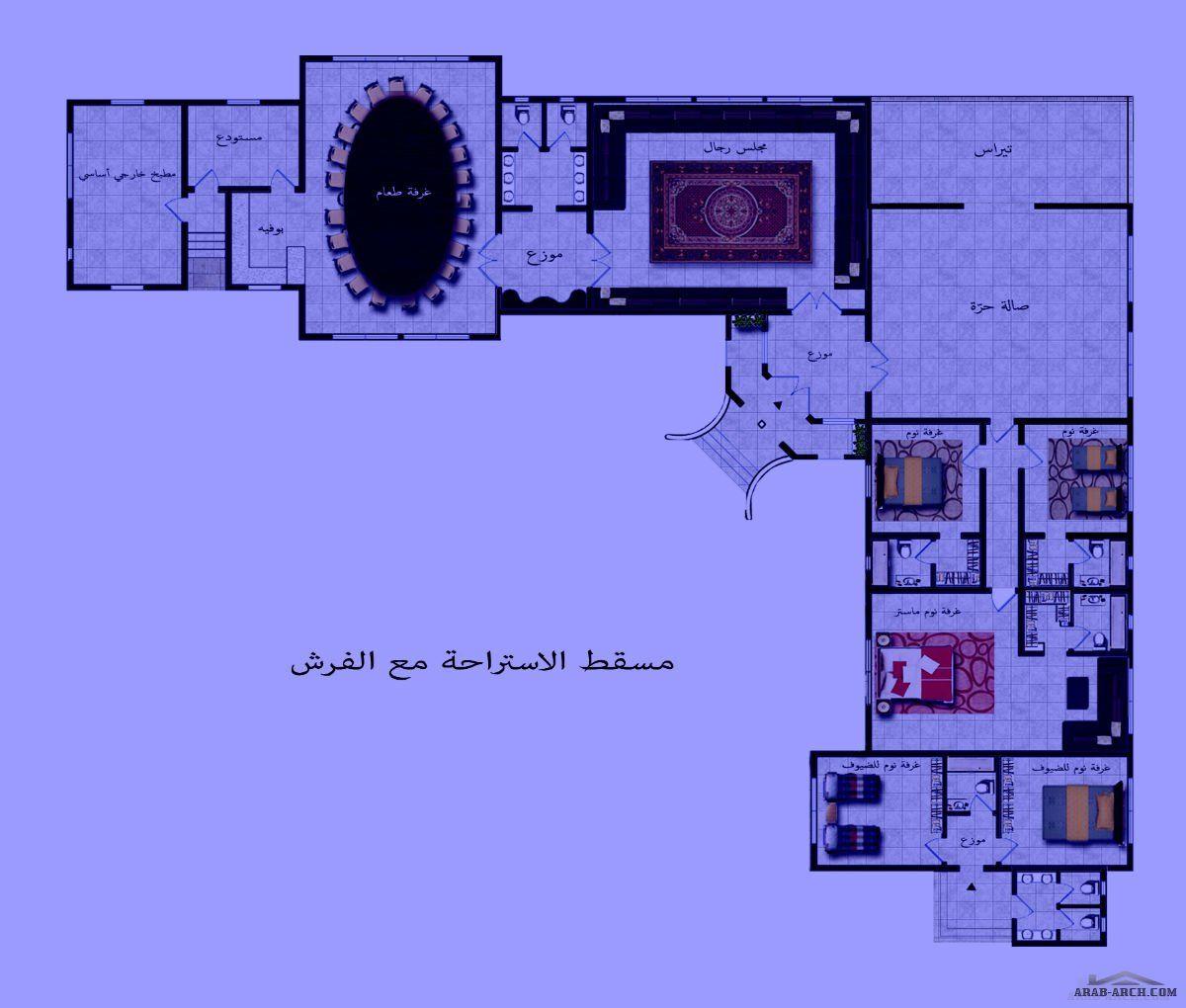 تصميم استراحة حرف L زاوية من أعمال Yasmine Al Hadwa Home Map Design Floor Plan Design House Map