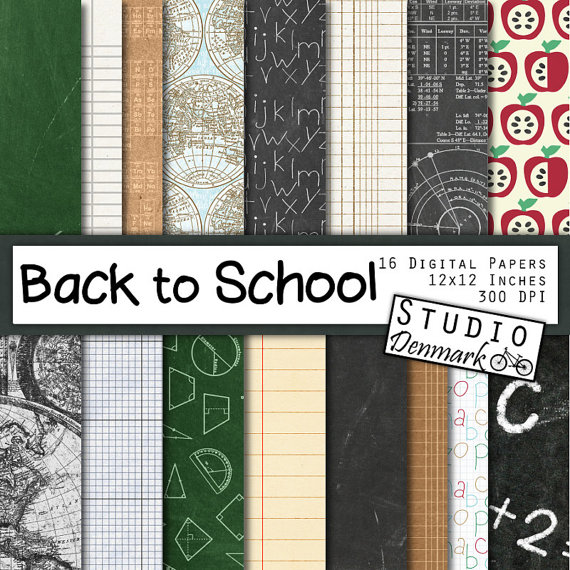 Back to School Digital Paper - 16 Chalkboard   Maps   Math - notebook paper download