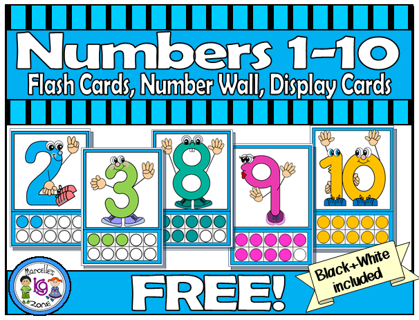 Numbers 1 10 Free Character Number Flash Cards With Ten Frames Can Also Be Used As A Center Activity When Separa Flashcards Kindergarten Themes Display Cards