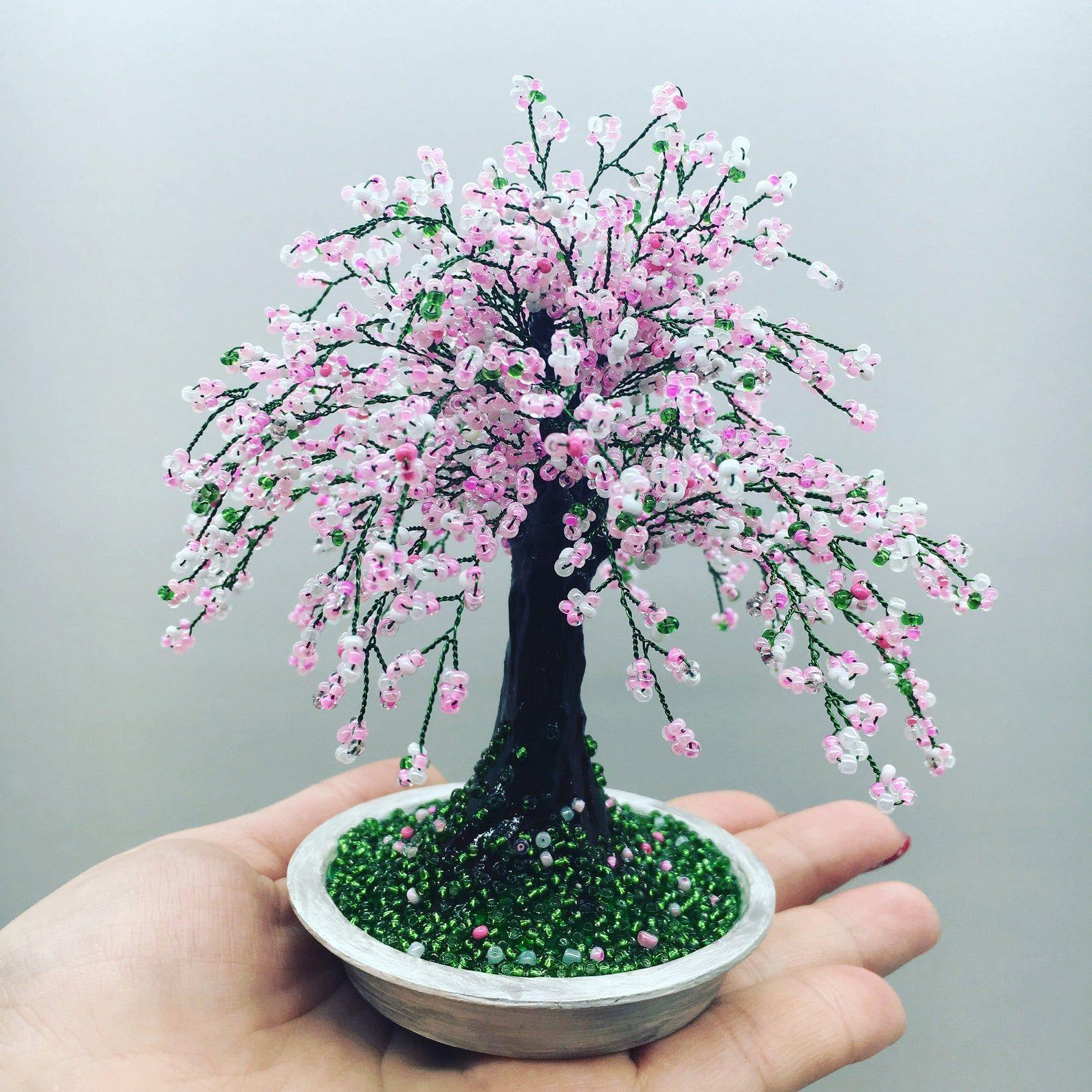 Cherry Blossom Bonsai Trees Sakura Beaded Bonsai Tree Wire Etsy In 2021 Wire Tree Sculpture Cherry Blossom Bonsai Tree Tree Sculpture