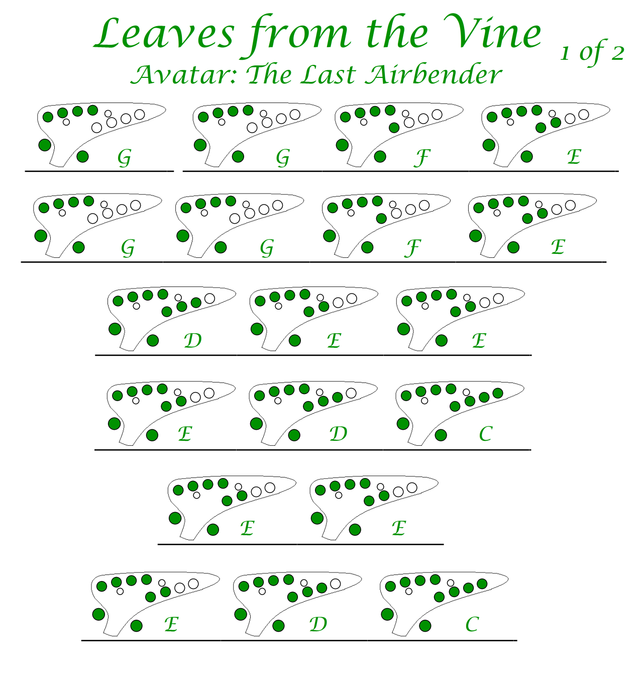 Easy Ocarina Tabs Leaves From The Vine Jeremy Zuckerman Avatar Ocarina Music Ocarina Tabs Music Tabs