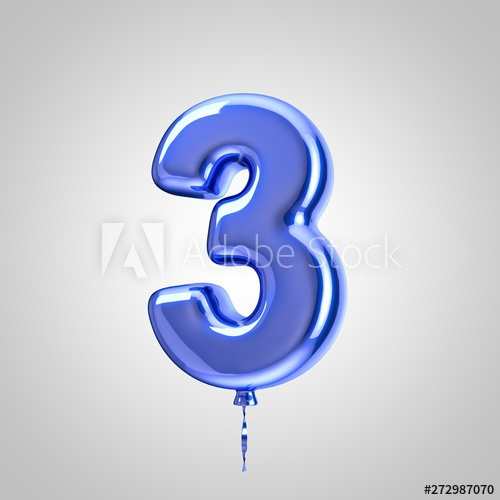 Shiny Metallic Blue Balloon Number 3 Isolated On White Background Buy This Stock Illustration And Explore Similar Blue Balloons Metallic Blue Number Balloons