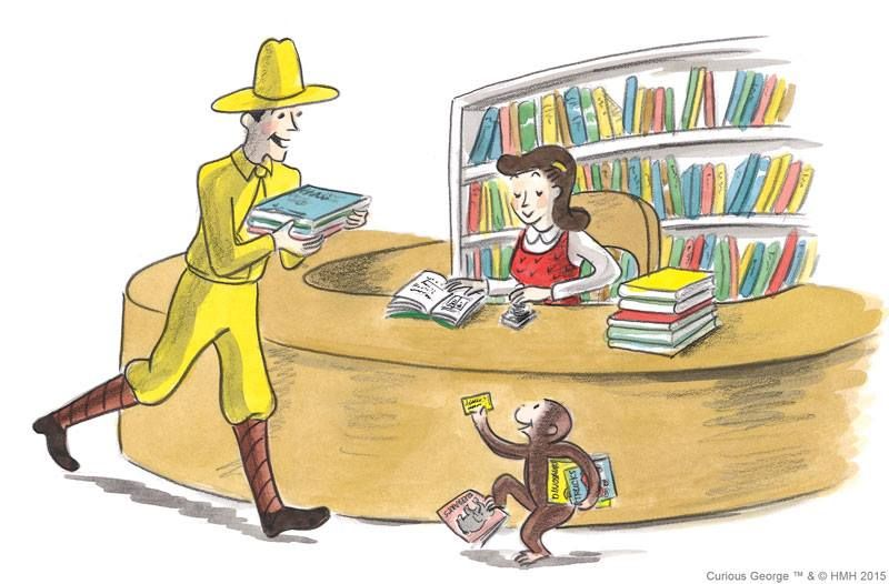 George And The Man In The Yellow Hat In The Library Curious George Character Art Vintage Illustration