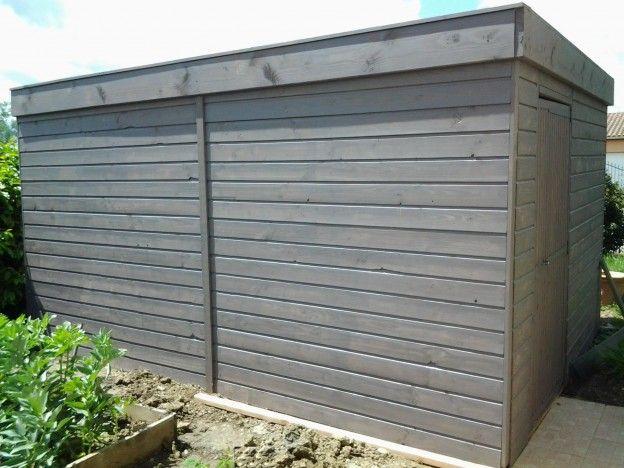 Abri de jardin en bois Douglas peint en gris, l\'abri moderne et ...