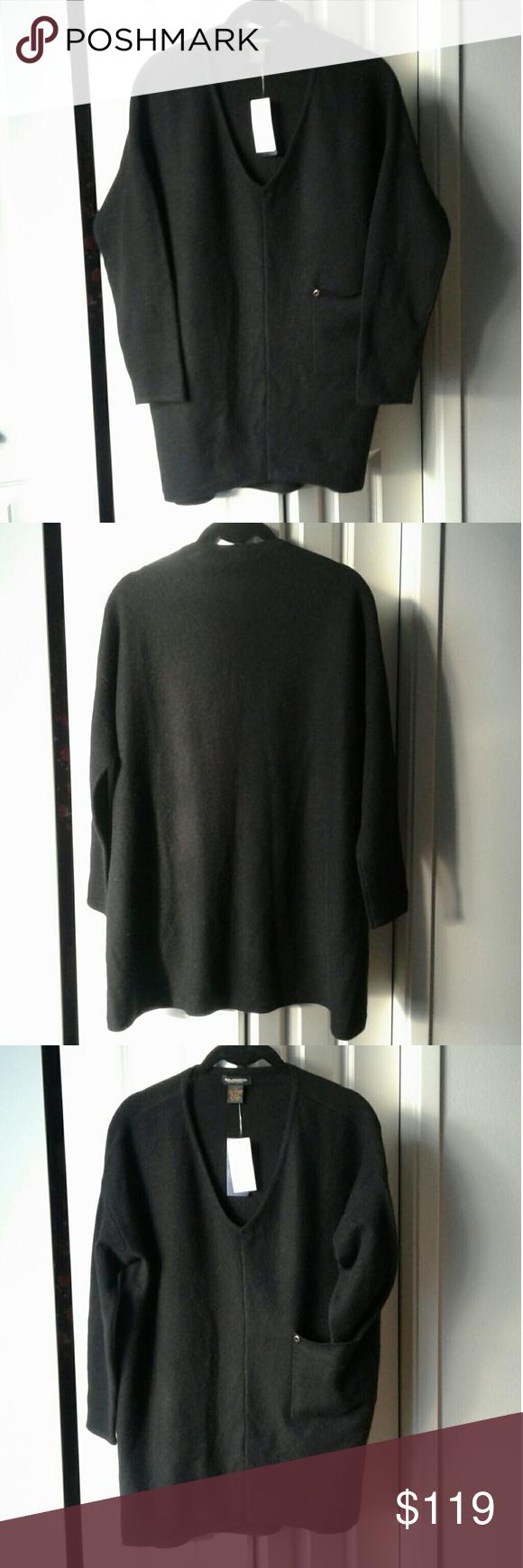 ⬇$119 100% Cashmere Black V-neck Sweater w/ Pocket | Solid black ...