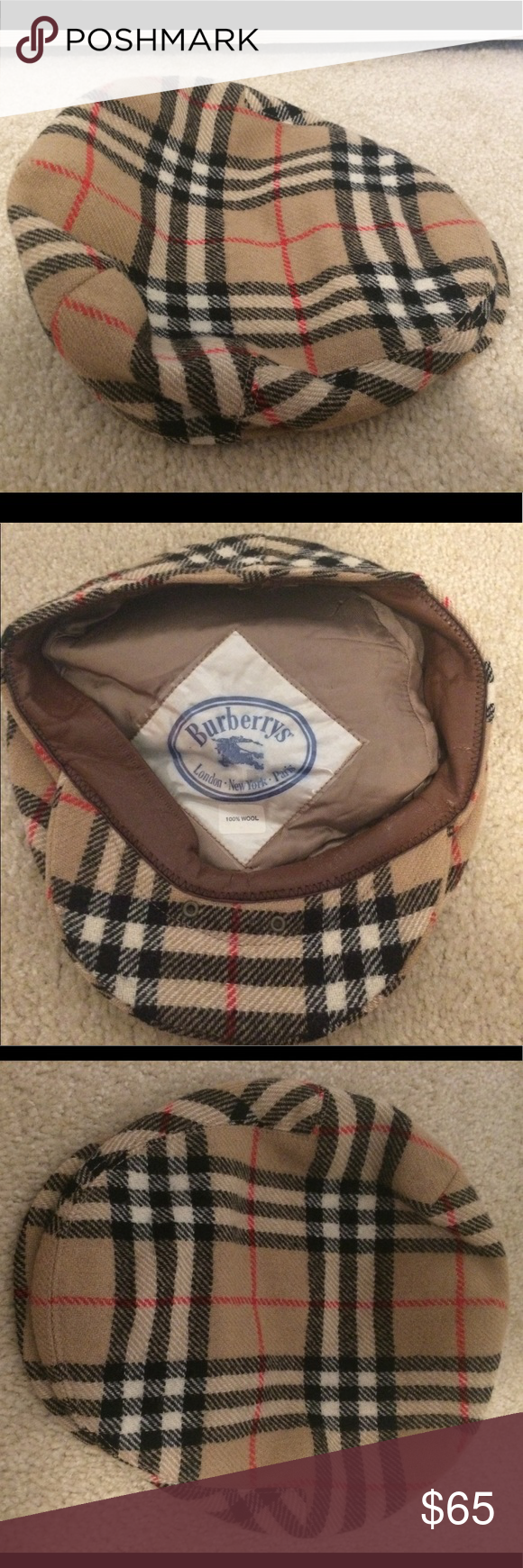 Vintage Burberry wool cabbie golf cap unisex Vintage Burberry cabbie wool  newsboy golf cap. Unisex. Sz 7 5 8. Inside tag reads sz 61 with Burberry  tag. cbe793bd6b93