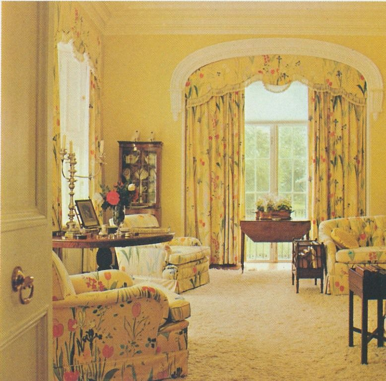 yellow living room  textile design colorful interiors