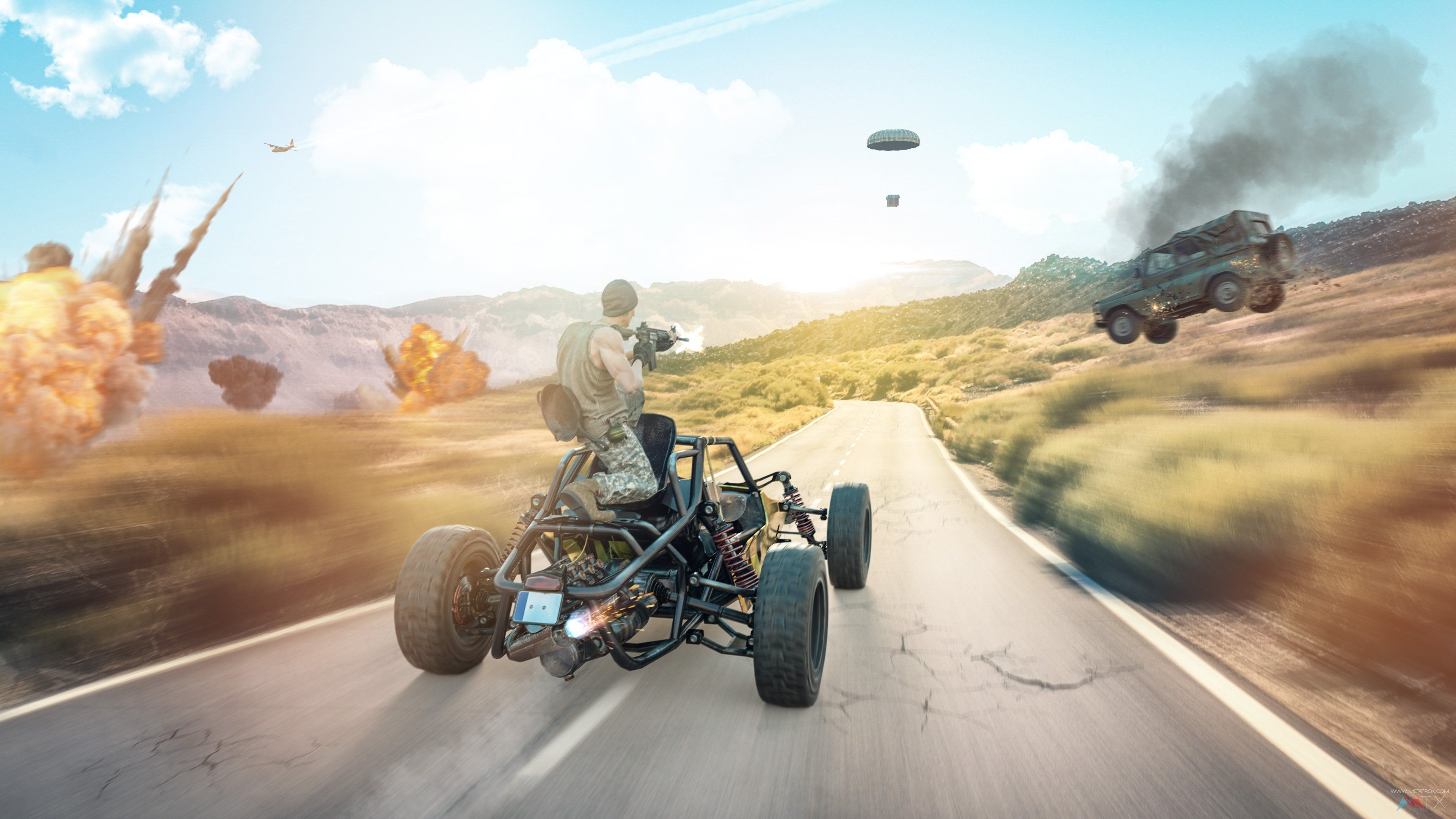 Pubg Player Going For Air Drop With Car Wallpaper Pubg Player Going For Air Drop With Car Wallpaper Game Latest High Defini Car Wallpapers Car Nature Wallpaper