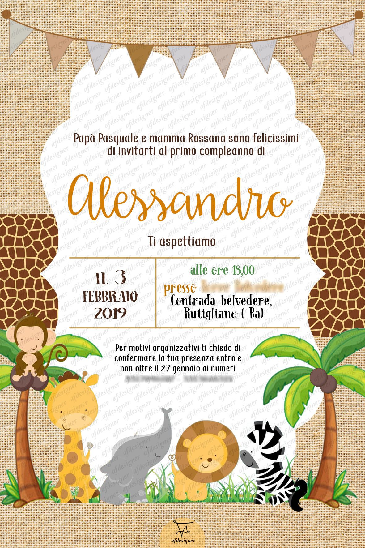 digital invitation birthday party jungle animals. Black Bedroom Furniture Sets. Home Design Ideas