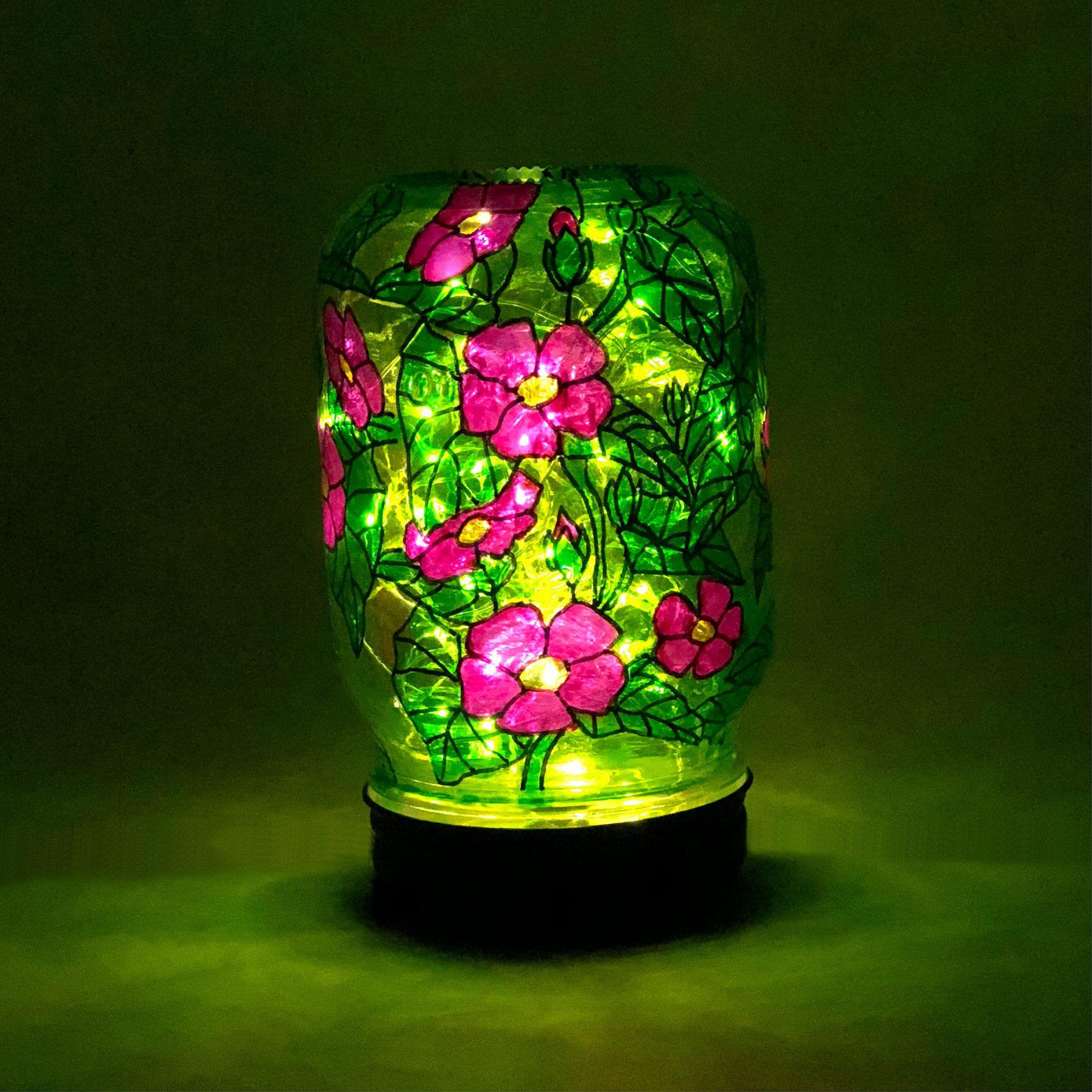 Hand painted glass light glass garden light stained