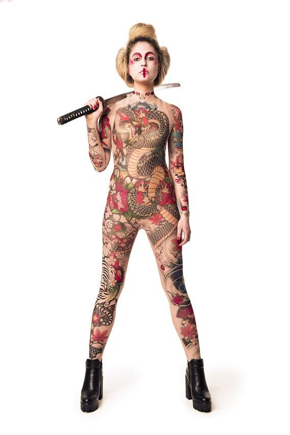 YAKUZA STYLE TATTOO Full Body Catsuit, Halloween C