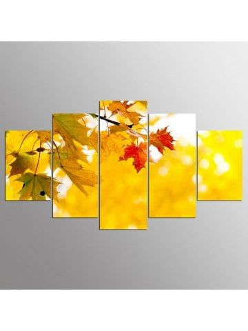 YSDAFEN 5 Piece Modern Red Maple Leaf Canvas Wall Pictures Living ...