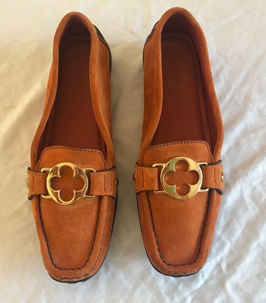 Authentic louis vuitton orange suede slip on loafers
