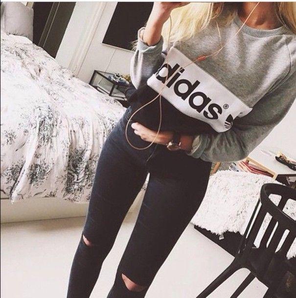 sweater adidas jeans adidas sweater black sweater grey sweater hoodie  sweatshirt grey black white vintage grunge hipster shirt grey and black  adidas sweater ... b0916fb43324