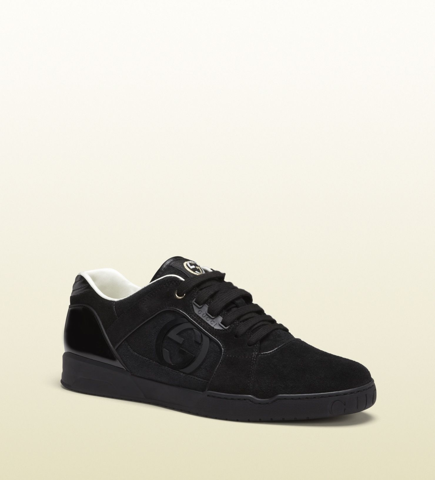 Gucci 309457 Coa50 1000 Black Suede Lace Up Sneaker Black Suede With Black Leather Trim Made In Italy Rubb Gucci Men Shoes Gucci Men Mens Designer Shoes