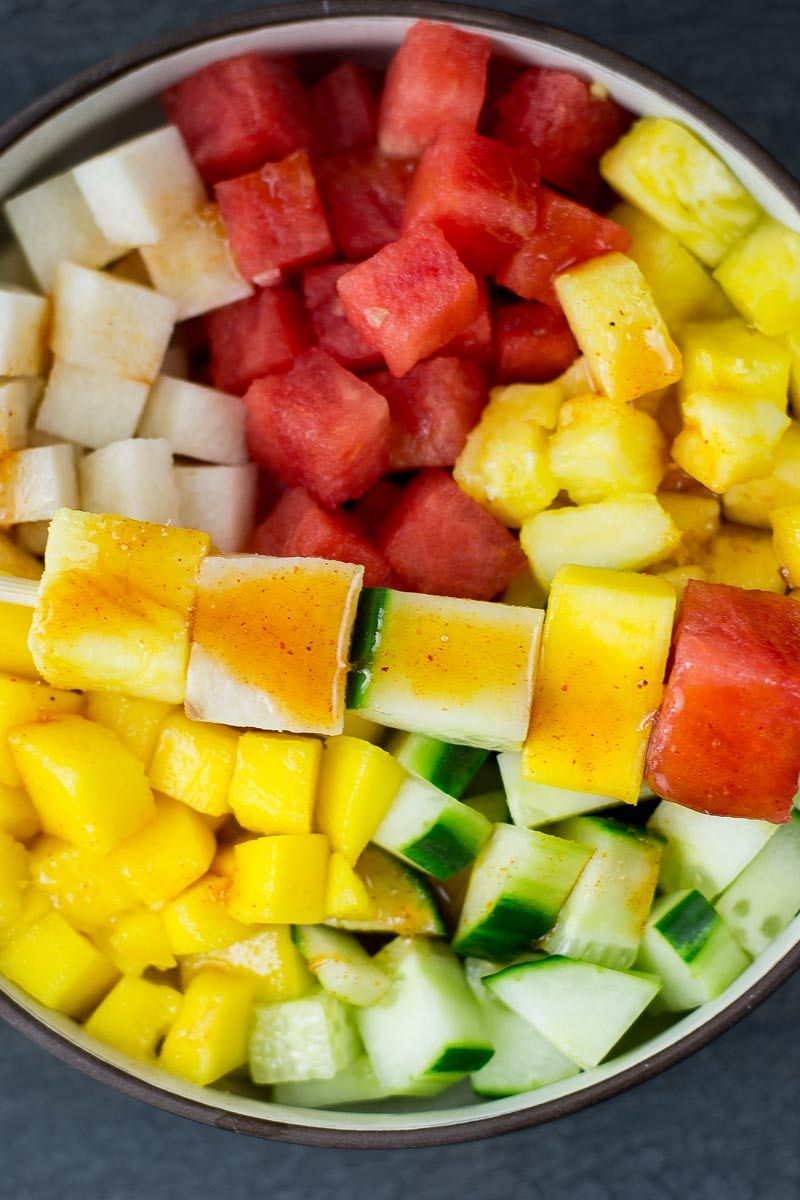 Mexican Fruit Salad With Lime Chili Dressing Wanderspice Recipe Mexican Fruit Salads Recipes With Beef And Vegetables Red Juice Recipe