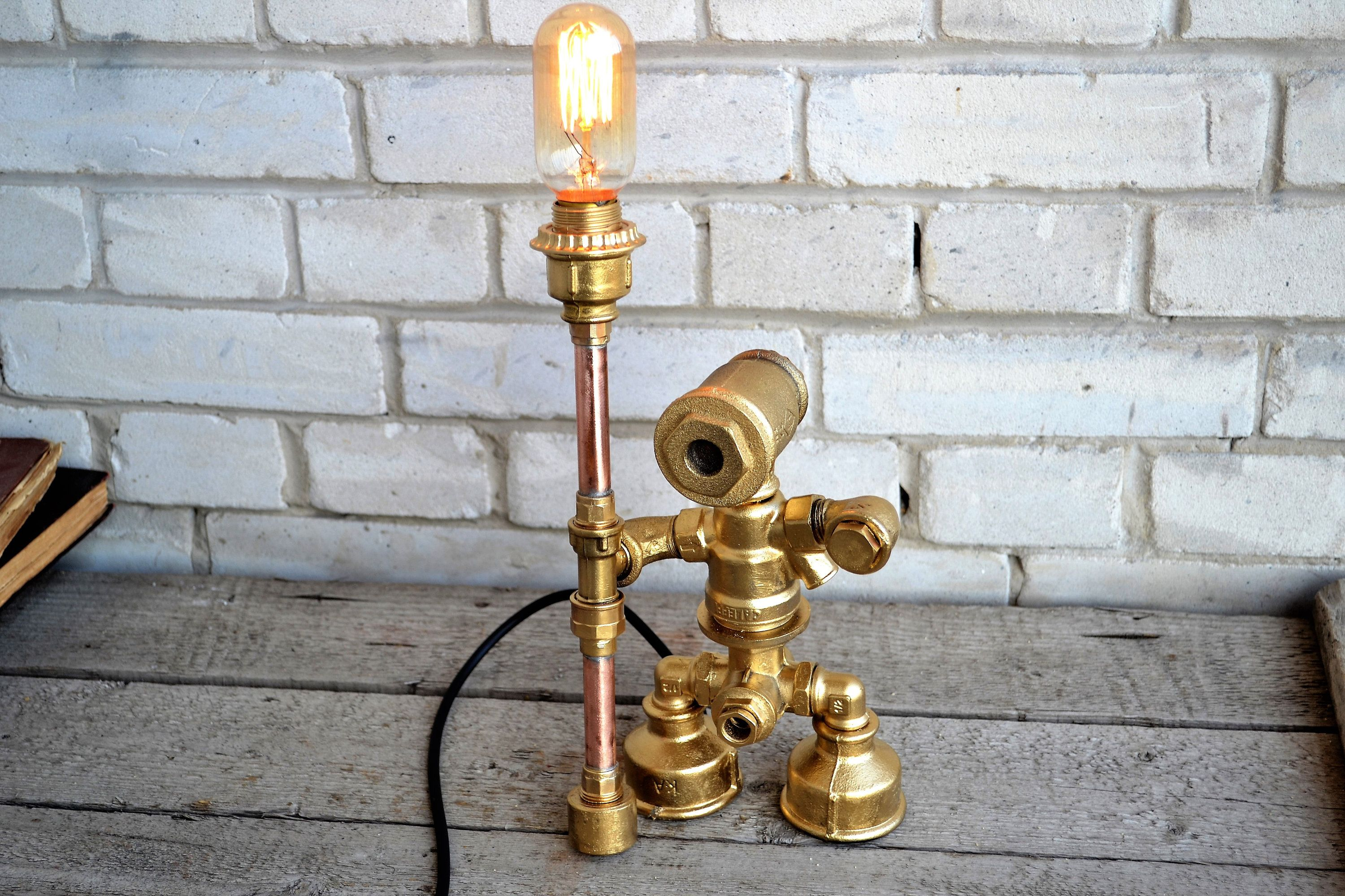Robot Lamp Steampunk Table Lamp Industrial Lighting Human Shaped Night Light Gift To A Man Rustic Lamp With Edison Bu Lamp Steampunk Table Lamp Robot Lamp