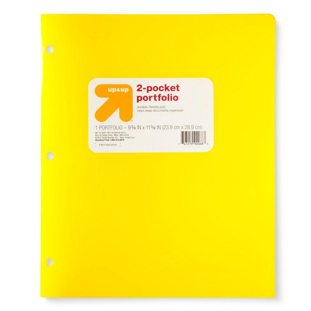 "Plastic Portfolio Folder, 2 Pocket, 8.5"" X 11"""