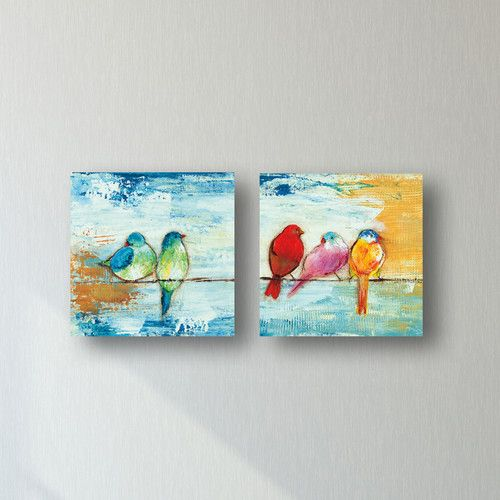 Found It At Wayfair Song Birds Ii By Three Bamboo Studio 2 Piece Painting Print On Wrapped Canvas Set Canvas Decor Canvas Painting Projects Canvas Set