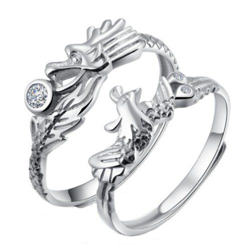 Rosemandy Sterling Silver Resizable Dragon and Phoenix Couples Promise Rings $15.88