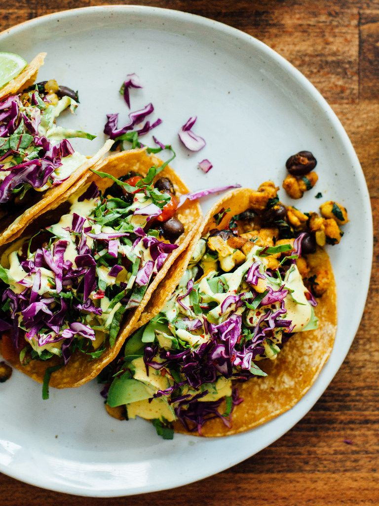 black bean tempeh tacos with cashew cheese sauce oh. Black Bedroom Furniture Sets. Home Design Ideas
