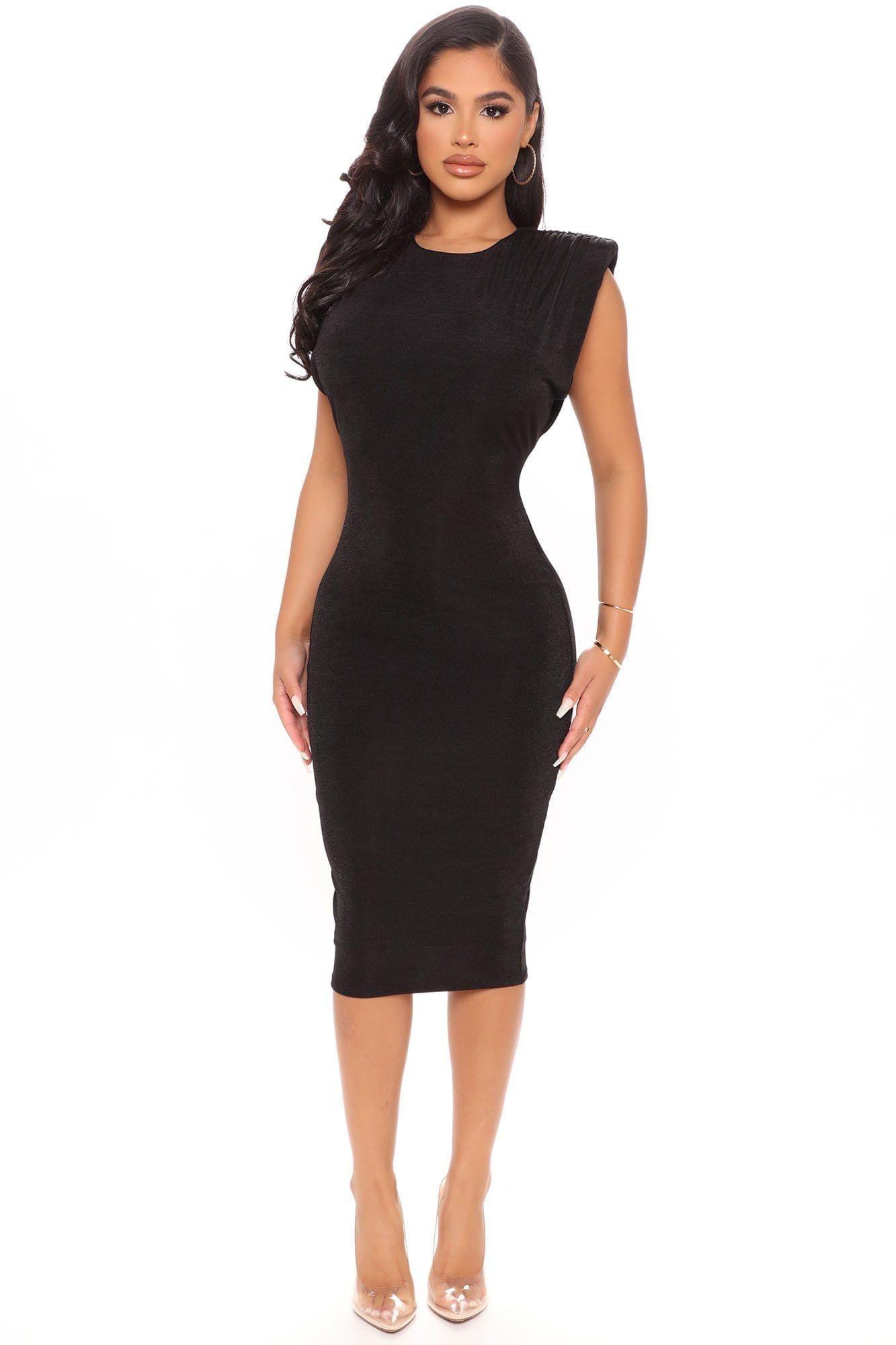 Women Love Bunch Shoulder Pad Midi Dress Black 27 Black Midi Dress High Neck Black Dress Midi Dress Bodycon [ 2000 x 1333 Pixel ]