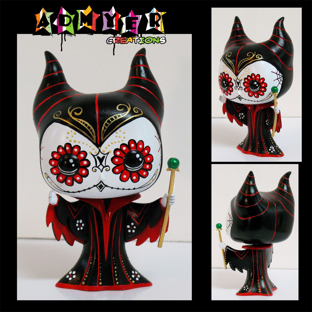 admyer day of the dead maleficent on a 3 75 funko pop custom