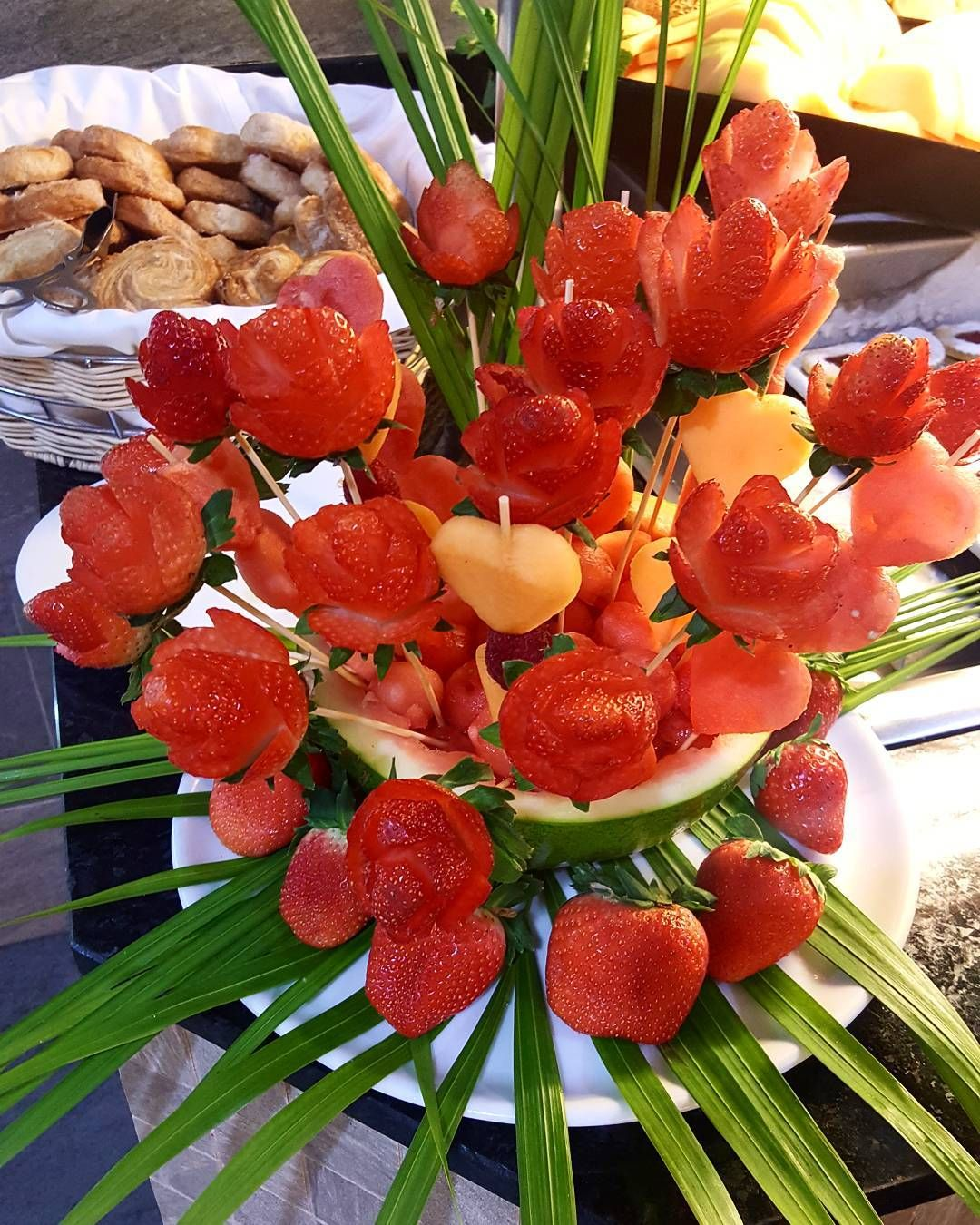 Fruit art at Riu Palace St martin - Strawberry flowers for Valentine's day