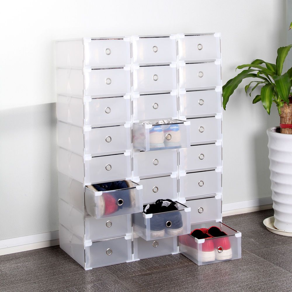24 Foldable Plastic Shoe Boxes Organiser Drawer Stackable Storage ...