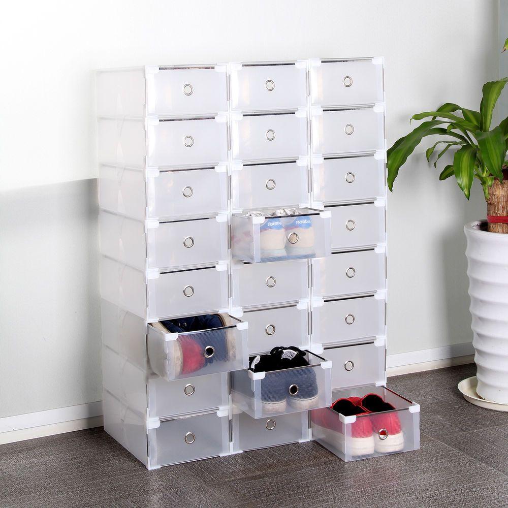 24 Foldable Plastic Shoe Boxes Organiser Drawer Stackable Storage Box  Transparen In Home, Furniture U0026
