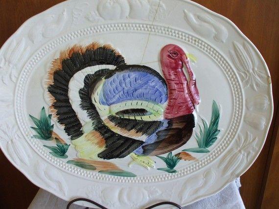 Vintage 50 S Tom Turkey Large Ceramic By Onevintagevagabond Tom Turkey Turkey Platter Ceramic Platters