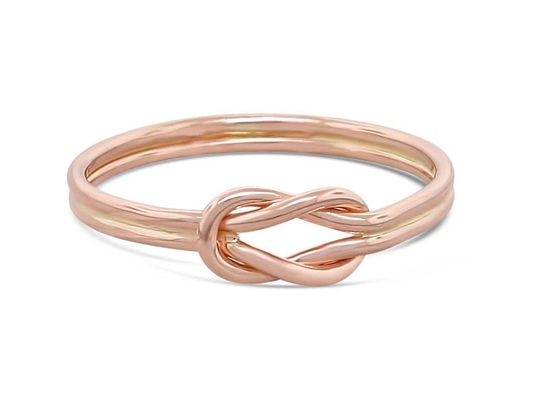 Thin rose gold stacking knot ring - dainty sailor knot ring - alternative engagement or promise ring for her