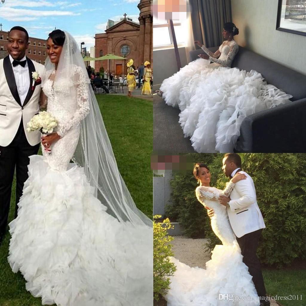 arabic long sleeve wedding dresses luxury tulle skirts mermaid