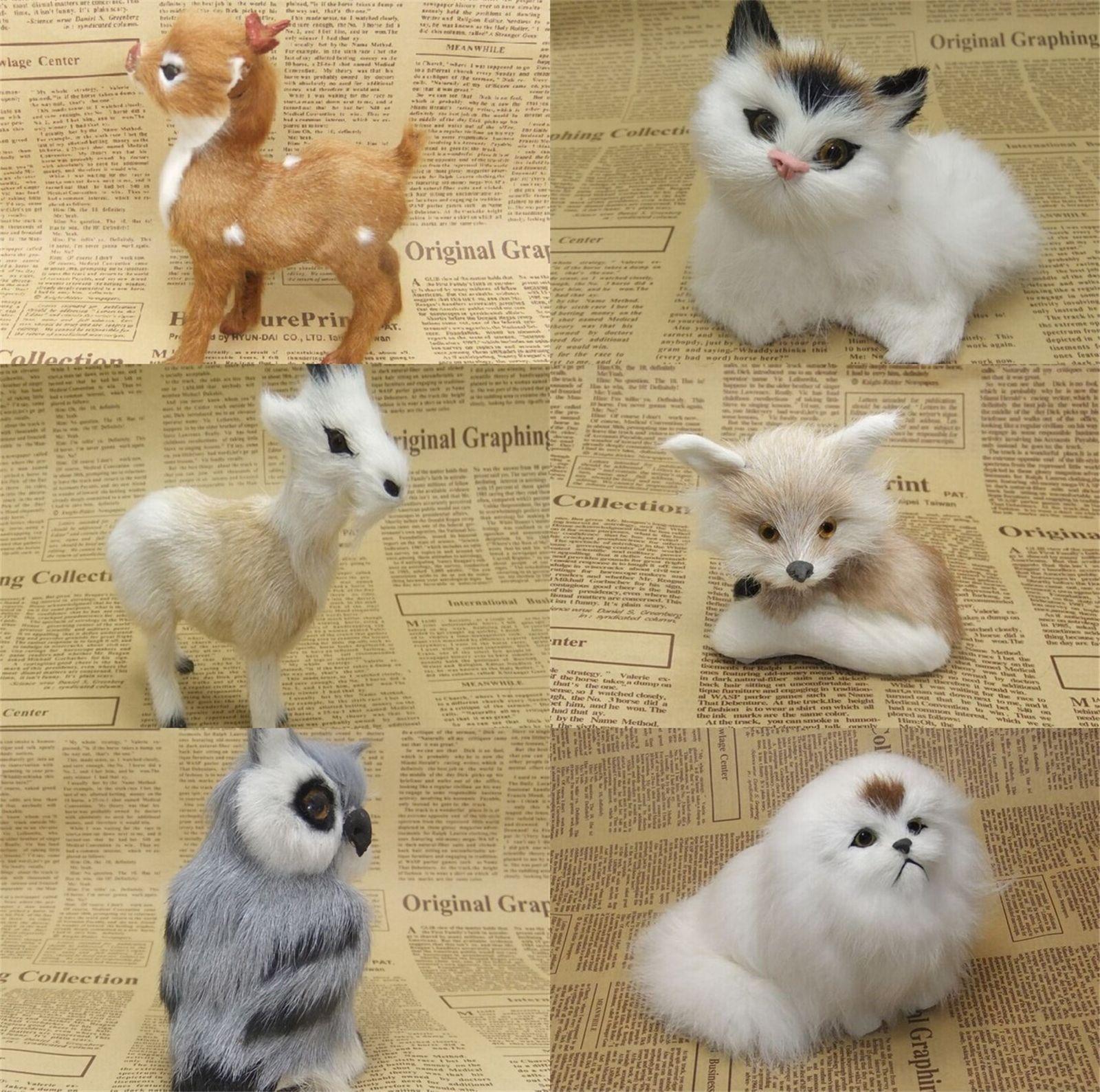 Car decoration toys  Furry Fur Fox Animal Model Figure Toys Sheepskin Home Car Decoration