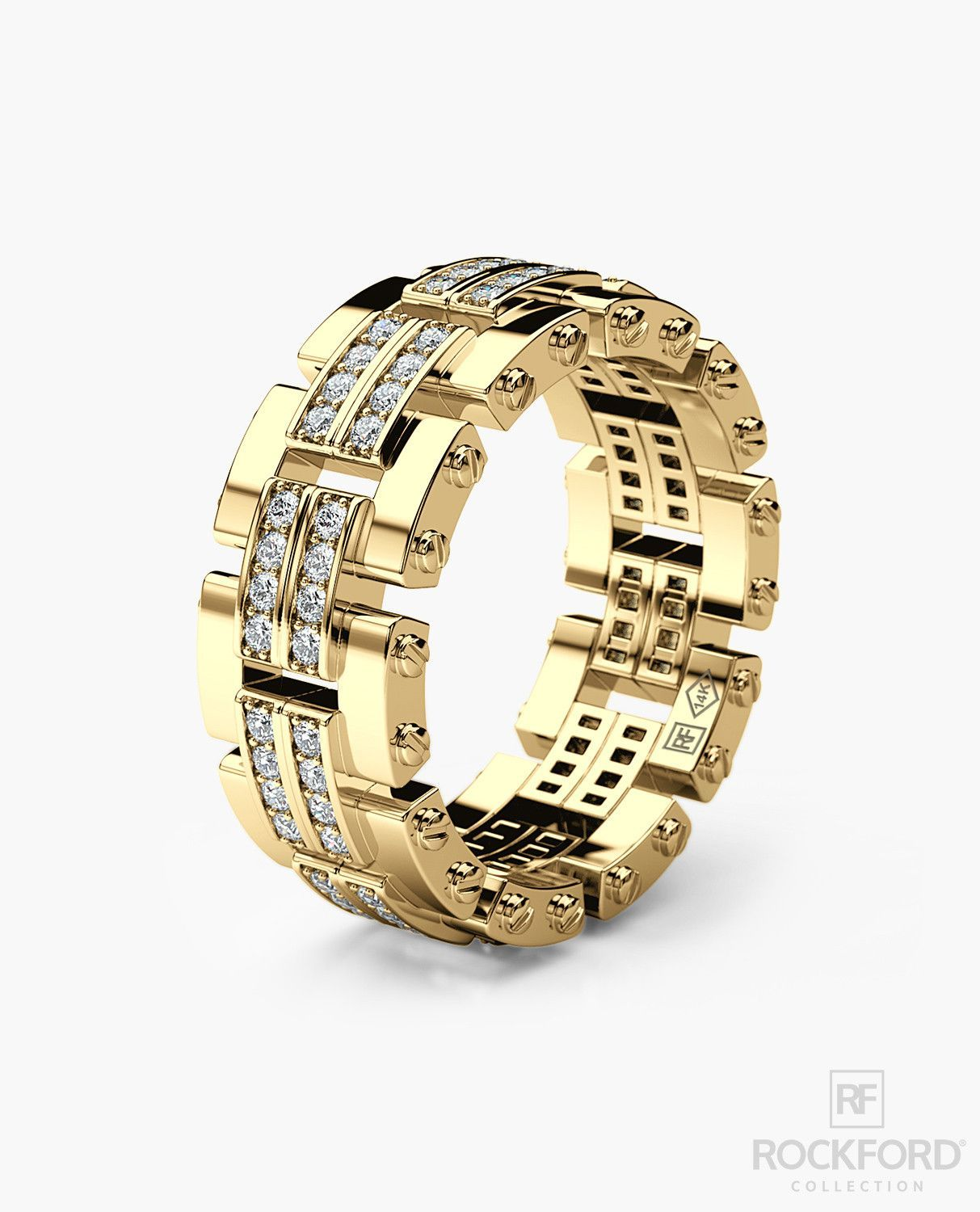 GETCHELL Mens Gold Wedding Band with Diamonds in 2020