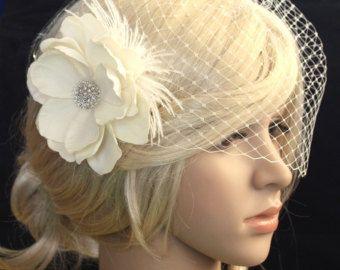 Bridal birdcage veil ivory bridal veil bandeau by JoyandFelicity