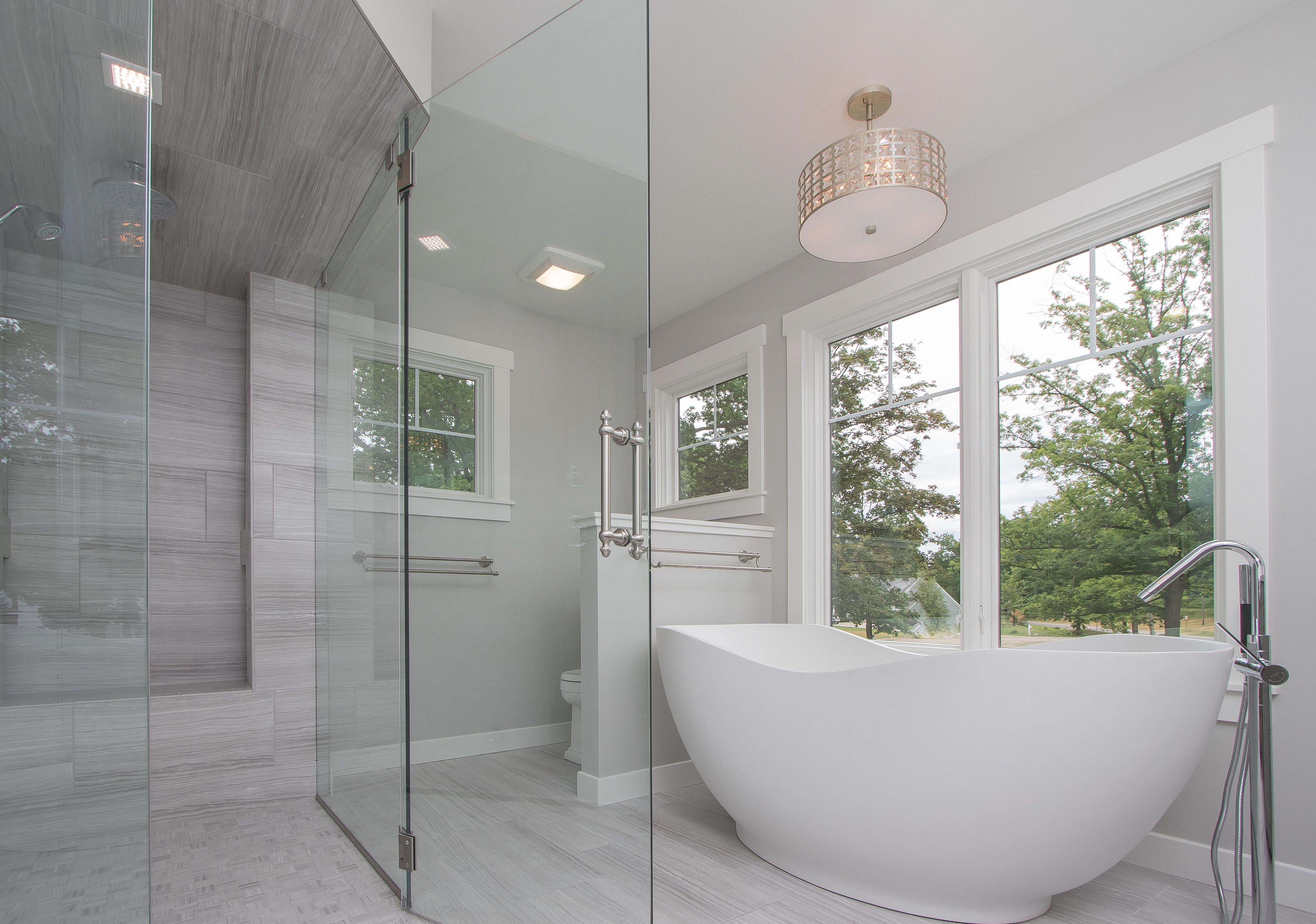 Owners Suite: ceramic tile floor, free standing tub, coordinating ...