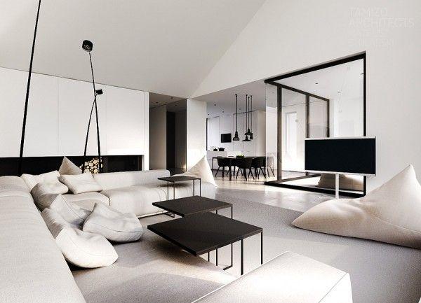 Clean modern decor huiskamer interieur en voor het huis