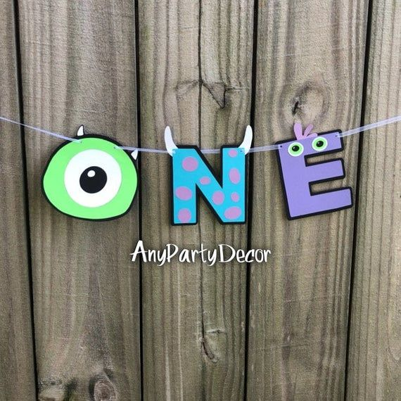 Monsters Inc One First Birthday Party Banner - Monsters Inc First Birthday High Chair Banner - ONE Banner